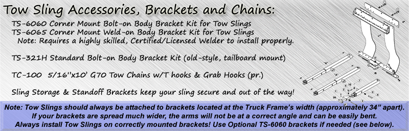 Tow sling accessories, brackets, and chains